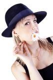 головка шлема цветка ее детеныши женщины Стоковая Фотография