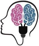 Головной логотип электрической лампочки Стоковые Изображения RF
