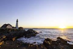 головной светлый маяк portland Стоковые Изображения