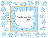 Головоломка, голубая мозаика с темным планом Части зигзага Детали раскрывают владение домашнего ключа принципиальной схемы дела з иллюстрация штока
