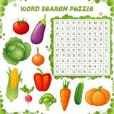 Головоломка поиска слова Игра образования вектора для детей Овощи Стоковое Изображение