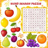 Головоломка поиска слова Игра образования вектора для детей плодоовощи Стоковая Фотография RF