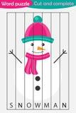 Головоломка слова, снеговик в стиле мультфильма, игре образования рождества для развития детей дошкольного возраста, ножниц польз бесплатная иллюстрация