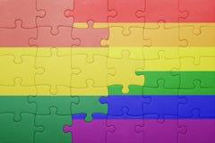 Головоломка с национальным флагом Боливии и гомосексуалист сигнализируют Стоковое Фото