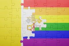 Головоломка с национальным флагом Ватикана и гомосексуалист сигнализируют Стоковые Фото