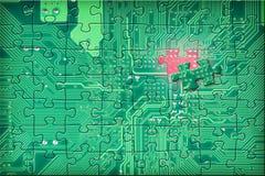 головоломка цепи предпосылки электронная зеленая Стоковое Изображение