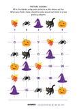 Головоломка sudoku изображения с значками хеллоуина иллюстрация вектора