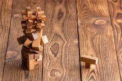 3 головоломки блокировать комплексом деревянных Стоковые Фотографии RF