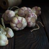 Головы чеснока на темном деревянном столе Стоковое Изображение
