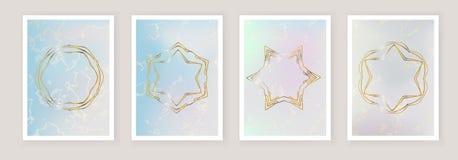 Голографическая предпосылка сетки градиента с мраморными пятнами Шаблон для знамени, мобильного экрана, брошюры, paster Золото стоковая фотография rf