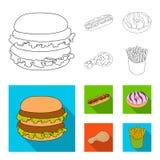 Голодают, еда, еда, и другой значок сети в плане, плоском стиле Гамбургер, плюшка, мука, значки в собрании комплекта бесплатная иллюстрация
