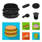 Голодают, еда, еда, и другой значок сети в черном, плоском стиле Гамбургер, плюшка, мука, значки в собрании комплекта иллюстрация вектора