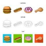 Голодают, еда, еда, и другой значок сети в шарже, плане, плоском стиле Гамбургер, плюшка, мука, значки в собрании комплекта Стоковое Изображение RF
