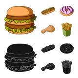 Голодают, еда, еда, и другой значок сети в шарже, стиле черноты Гамбургер, плюшка, мука, значки в собрании комплекта Стоковые Фотографии RF