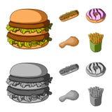 Голодают, еда, еда, и другой значок сети в шарже, monochrome стиле Гамбургер, плюшка, мука, значки в собрании комплекта Стоковые Фото