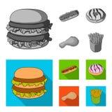 Голодают, еда, еда, и другой значок сети в monochrome, плоском стиле Гамбургер, плюшка, мука, значки в собрании комплекта бесплатная иллюстрация