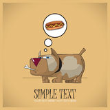 Голодная собака. Иллюстрация вектора. Стоковые Фото