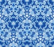 Голубая абстрактная безшовная картина, предпосылка Составленный геометрических форм Стоковая Фотография