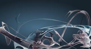 Голубая абстрактная жидкость развевает представленное 3D Стоковые Фотографии RF