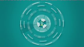 Голубая абстрактная круглая анимация калейдоскопа, предпосылка высок-техника с кругами бесплатная иллюстрация