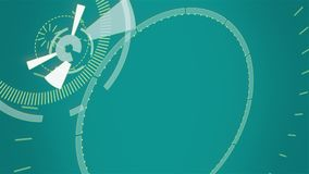 Голубая абстрактная круглая анимация, предпосылка высок-техника с кругами Футуристическое влияние научной фантастики HUD иллюстрация вектора