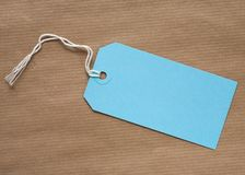 голубая бирка подарка Стоковое фото RF