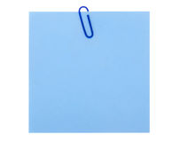 голубая бумага примечания зажима стоковые изображения rf
