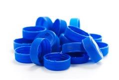 голубая вода пластмассы крышек бутылки Стоковая Фотография
