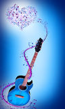 Голубая гитара Стоковые Изображения