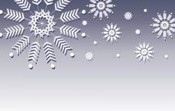 Голубая граница предпосылки снежинки Стоковое Изображение RF