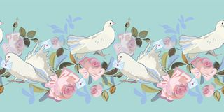Голубая граница с розой и голубем иллюстрация штока
