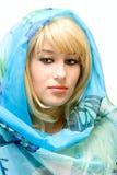 голубая девушка довольно Стоковая Фотография