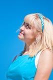 голубая девушка над небом Стоковое Изображение RF