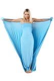 голубая девушка платья длиной Стоковая Фотография RF