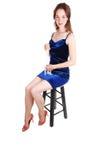 голубая девушка платья довольно королевская стоковые фото