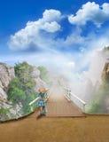 голубая девушка платья моста Стоковая Фотография