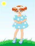 голубая девушка платья немногая Иллюстрация вектора