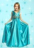 голубая девушка платья немногая Стоковое Изображение