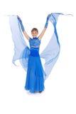 голубая девушка платья представляя студию Стоковое Изображение RF