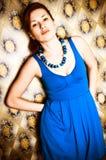 голубая девушка платья ретро Стоковое Фото