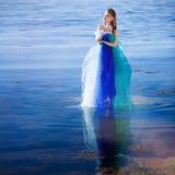 голубая девушка фантазии платья Стоковые Фото