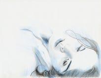 голубая девушка Стоковое Фото