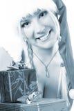 голубая девушка santa Стоковые Изображения