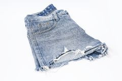 Голубая джинсовая ткань, шорты джинсовой ткани Rosie, короткие планы Стоковые Изображения