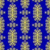 Голубая желтая орнаментальная безшовная линия картина Восточный геометрический орнамент Стоковое Изображение RF