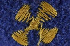 Голубая желтая предпосылка текстуры ткани стоковые фотографии rf