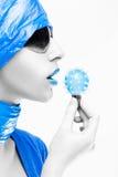 голубая женщина губ Стоковое Фото
