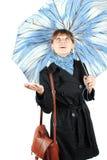 голубая женщина зонтика Стоковые Изображения RF
