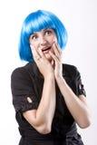 голубая женщина парика Стоковые Фотографии RF