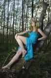 голубая женщина платья Стоковое Изображение RF